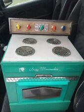 Vtg Suzy Homemaker child working oven stove teal aqua Topper Toys