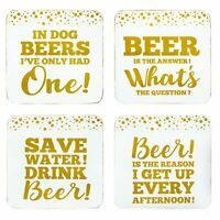 SET OF 4 BEER COASTER FATHERS DAY GIFT