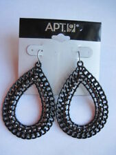 Apt 9 Black Filigree Teardrop Dangle Earrings w Rhinestones Pierced NWT FREE S&H
