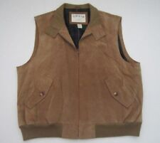 Mens XL Orvis leather suede full zip plaid lined vest