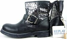 REPLAY RIENA Biker Boots Damen Stiefelette Stiefel Leder Schwarz Silber Gr37 NEU