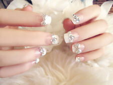 24 x Full Cover Manicure Wedding nail Glitter Short False Nails with Glue N502
