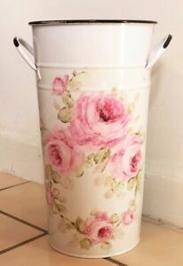 French Pail metal shabby hand painted chic roses white vintage flowers bucket