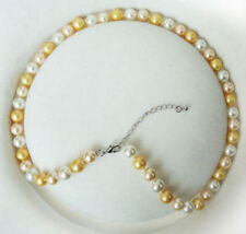 Fashion New 8mm White pink yellow Shell Pearl Round Beads Necklace 18""