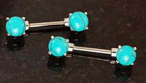 """Pair 14g 1/2"""" (12mm) 316L Surgical Steel Semi Turquoise Stone Nipple Rings"""