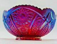 Large Vintage Ruby Red Iridescent Glass Bowl Candy Dish