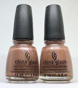 China Glaze Nail Polish HYBRID 649 Light Brown Tan Beige Shimmer Lacquer