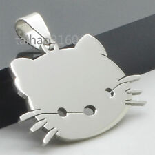 Silver Stainless Steel Vintage Pendant Cartoon Kitty Cat Dog Tag Pendant C3