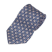 E. MARINELLA Napoli Navy Blue Peach Flower Blue Diamond Men's Silk Neck Tie