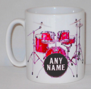 Drum Kit Mug Can PERSONALISE ANY NAME Music Drummer Drums Musician Gift