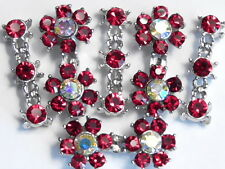 6 - 2 OR 3 HOLE BEADS SIAM & RAINBOW AB AUSTRIAN CRYSTAL DOUBLE FLOWER & SPACERS
