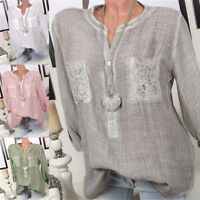 Womens Lace Pockets T-Shirt Loose Long Sleeve Flax Linen Crew Neck Casual Tops
