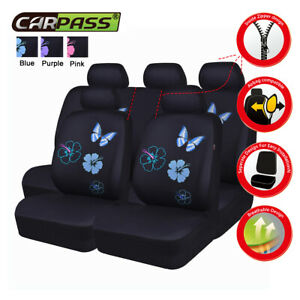 Universal Car Seat Covers Blue Butterfly fit 50/50 60/40 for SUV VAN SEDAN