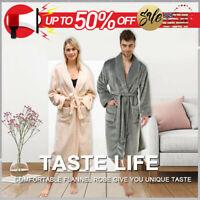 Men Women Winter Warm Fleece Robe Plush Shawl Bathrobe Soft Long Spa Sleepwear
