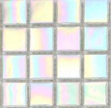 SAMPLE Iridescent White Vitreous Glass Bathroom Mosaic Tiles Shower 0131