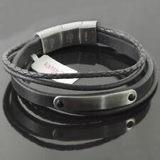 s.Oliver Herren Armband Lederarmband mit Edelstahl/schwarz A2015063