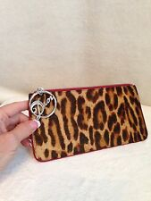 Christian Dior GAMBLER Leopard Fur Red DIOR Charm Clutch Pouch Handbag Wallet