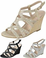 Fairway-35 Women Party Evening Dress Bridal Wedding Rhinestone Wedge Sandal Shoe
