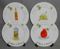 Set (4) Revol LES OLIVES DE PROVENCE PATTERN Salad Plates MADE IN FRANCE