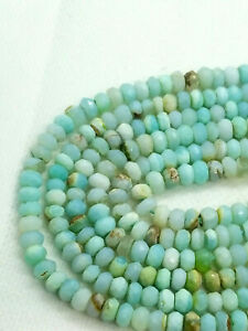 """PERUVIAN BLUE OPAL 4.5-5mm FACETED RONDELLE GEMSTONE BEADS 13"""""""