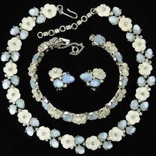 Trifari Bois de Boulogne Blue & White Fruit Salad Necklace Bracelet Earrings Set