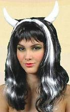 Perruque Noire CORNE Diablesse blanc déguisement Femme Halloween NEUF