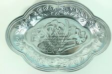 "Lenox Butterfly Meadow 9"" Small Oval Serving Tray Silver Aluminum Floral Design"