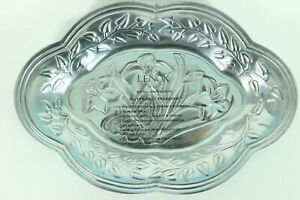 """Lenox Butterfly Meadow 9"""" Small Oval Serving Tray Silver Aluminum Floral Design"""
