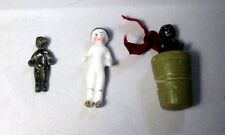 3 Tiny MOLLY Kewpie Doll, WAXER, PORCELAIN;Original Antique c1800's