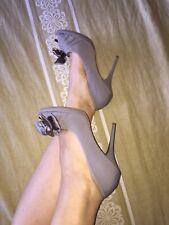 Scarpe donna Chedivé in vera pelle con fiocco, spuntate, N.40, tacco 10, tortora