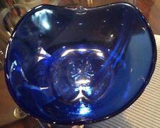 Vintage Cobalt Blue Glass Serving Bowl Apple Shaped