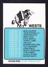 SCANLENS 1981 WESTS CHECK LIST UNMARKED
