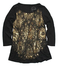 Lucky Brand - Women's M - NWT - Black/Metallic Gold Circle Burst Hi/Low Slub Tee