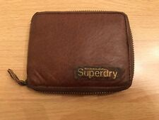 Superdry Classic Leather Zipped Wallet - Brown With Gold Logo - Used