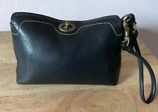 Coach Leather Black Wristlet With Brass Toned Hardware