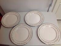 """Set of 4 NORITAKE china PARKRIDGE 7561 pattern DINNER PLATES 10-5/8"""""""