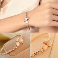 Fashion Women Lucky Flower Crystal Gold Plated Cuff Bracelet Bangle Jewelry Gift