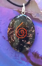 Energized OBLONG ORGONE BLACK TOURMALINE Crystal And Copper Pendant  with Chain