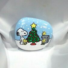 Hand Painted Rock Snoopy Woodstock & Friends Christmas Tree Peanuts Collectible