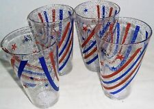 PATRIOTIC GLITTERED STARS AND STRIPES ACRYLIC TUMBLERS  Set of 4