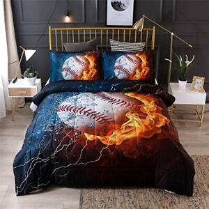 A Nice Night Baseball with Fire Print Comforter Quilt Set Bedding Sets for  Full