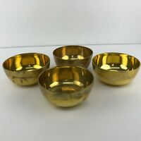 "Solid Brass Set of 4 Tibetan Buddhist Meditation Singing Bowls 4"" x 2"""