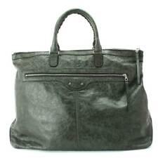 Auth BALENCIAGA Tote Bag Leather khaki Green 29727 Purse 90061944