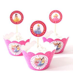 Princesses cinderella belle sleepy beauty cupcake topper party favors