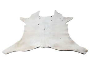 """Rare Cowhide Rugs Calf Hide Cow Skin Rug (28""""x33"""") White with Black touch CH8319"""