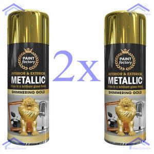 2x Gold Metallic Spray Paint Aerosol Interior Exterior Gloss Wood Metal - 400ML