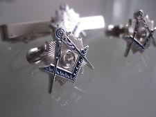 Masonic Master Mason  Cufflinks, and Tie Clip. Silver Plated.