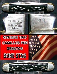 "Camillus 41 Knife Stag Pen Senator Circa 1940's 3-1/8"" Closed Worn Bone Handles"