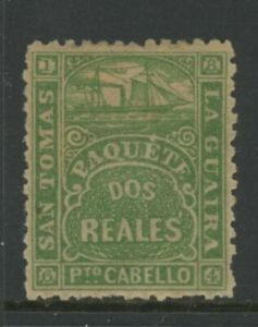 DANISH WEST INDIES, MINT, #2 REALES, OG HR, GREEN, PAQUETE, PUERTO CABELLO