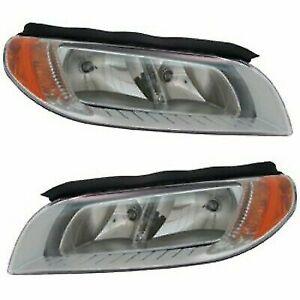 FOR VOLVO S80 2008 2009 2010 2011 2012 HEADLIGHT HALOGEN CHROME RIGHT & LEFT SET
